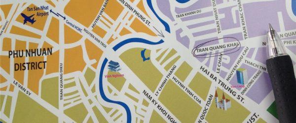 現地フリーペーパーの地図