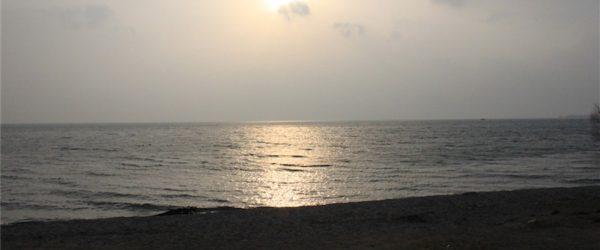 スタート地点、前日入り。琵琶湖と沈む夕日