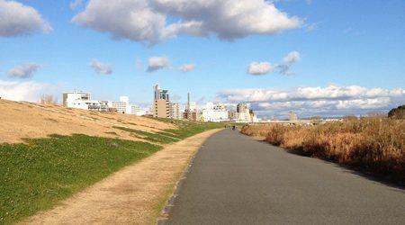 淀川沿いの河川敷を自転車で走る冬の景色